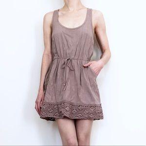 NASTY GAL Taupe Mini Dress w/ Crochet Trim